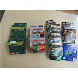 4 & 6 lb FISHING LINE - 11 boxes, Protac, Trilene, Ultragreen, Carbotex