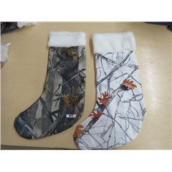 CHRISTMAS STOCKINGS - Qty 6, white camo, 2 Green Camo w/white top trim