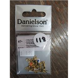 DANIELSON 3 way swivels, Twisted wire eyes, various sizes qty 32