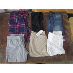 LADIES - plaid pants, lrg; 2 capris 1 - beige lrg; 1- black small, white shorts, size 10, blue jeans