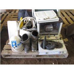 PALLET of Coleman cooler, folding chair, spa, mop, dirt bike boots size 8 and helmet, air mattress,