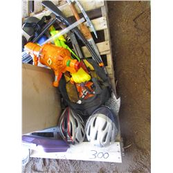 PALLET of badminton rackets, bike helmets, toy guns, halloween supplies, etc.