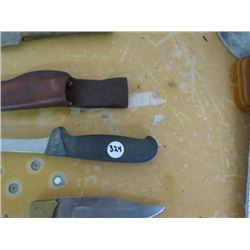"KNIFE - 14"" blade, 3 Knives w/sheaths 5"", 5½"", 8¼"" blades, switch blade 5"""