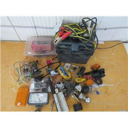 BATTERY box, trailer electrical wiring, hook-up, jumper cables, etc.