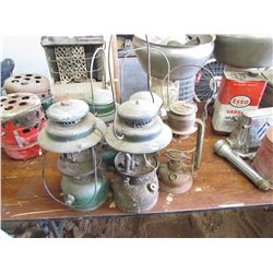 4 COLEMAN lamps, 1 barn lamp, no glass