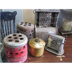 3 COLEMAN heaters, pot & toaster