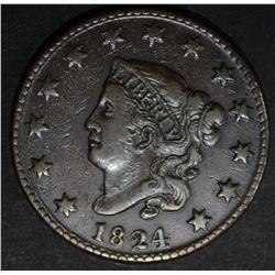 1824 LARGE CENT, VF