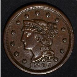 1847 LARGE CENT, XF/AU
