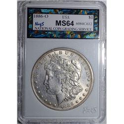 1886-O MORGAN DOLLAR, NCGS GRADED CH/GEM BU