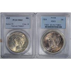 1924 & 25 PEACE DOLLARS. PCGS MS-63