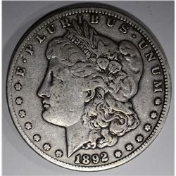 1892-CC MORGAN DOLLAR, VF