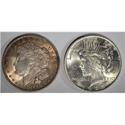 1921 MORGAN & 1923 PEACE SILVER DOLLARS, CH BU