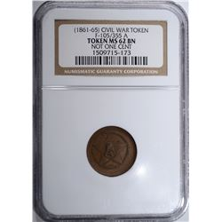 1861-65 CIVIL WAR TOKEN F-105/355 A, NGC MS-62 BN