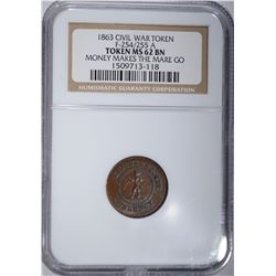 1863 CIVIL WAR TOKEN F-254/255 A, NGC MS-62 BN