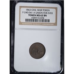 1863 CIVIL WAR TOKEN F-240/341 A, NGC MS-62 BN