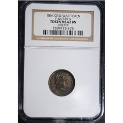 1864 CIVIL WAR TOKEN F-46/399 A, NGC MS62 BN