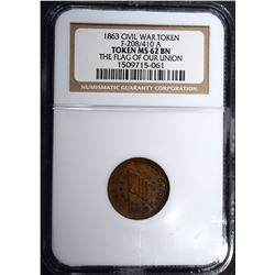 1863 CIVIL WAR TOKEN F-208/410 A, NGC MS-62 BN