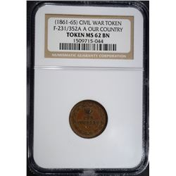 1861-65 CIVIL WAR TOKEN F-231/352 A, NGC MS-62 BN