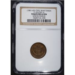 1861-65 CIVIL WAR TOKEN F-163/352 A, NGC MS-62 BN