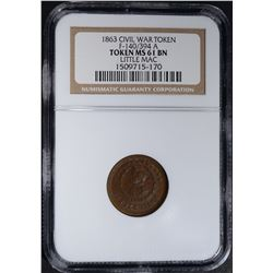 1863 CIVIL WAR TOKEN, F-140/394 A, NGC MS-61 BN
