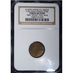 (C1870) WOOD CO BRIDGE TOKEN NGC AU-55 BN