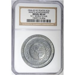 1964-65 N.Y. PEWTER SO CALLED DOLLAR, NGC MS-64
