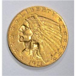 1911 $2 1/2 GOLD INDIAN HEAD  AU