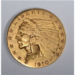 1910 $2 1/2 GOLD INDIAN HEAD  XF
