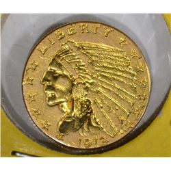 1912 $2 1/2 GOLD INDIAN HEAD  AU