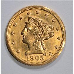 1905 $2 1/2 GOLD LIBERTY  AU/UNC
