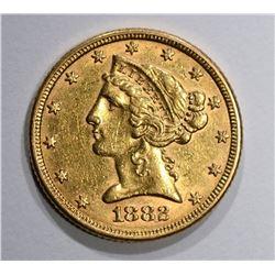 1882 $5.00 GOLD LIBERTY  AU