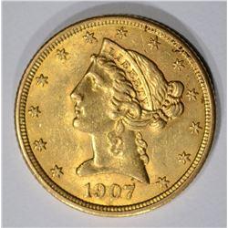 1907 $5.00 GOLD LIBERTY  BU