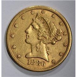 1886-S $5.00 GOLD LIBERTY  XF