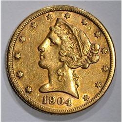 1904-S $5.00 GOLD LIBERTY  XF-AU