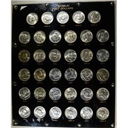 COMPLETE SET OF FRANKLIN HALVES IN PLASTIC DISPLAY
