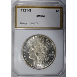 1921-S MORGAN DOLLAR, PCI CH/GEM BU