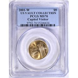 2001-W CAPITOL VISITOR  $5.00 GOLD, PCGS MS-70