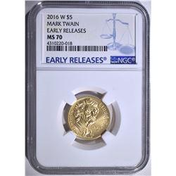 2016-W MARK TWAIN $5.00 GOLD, NGC MS-70 E.R.