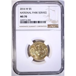 2016-W NATIONAL PARK SERVICE $5.00 GOLD, NGC MS-70