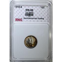 1918-S MERCURY DIME RNG GEM BU FB