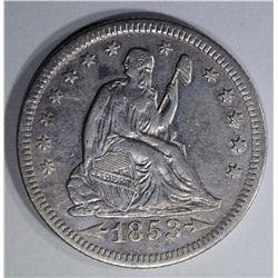 1853-O ARROWS AND RAYS SEATED LIBERTY QUARTER AU
