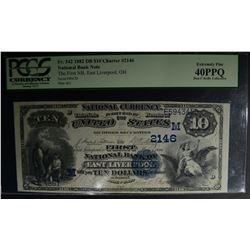 1882 DB $10 CHARTER #2146 PCGS 40PPQ