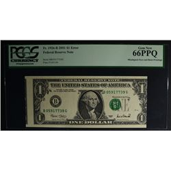 2001 $1.00 FEDERAL RESERVE NOTE PCGS 66PPQ