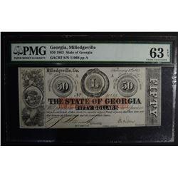 1863 $50.00 STATE OF GEORGIA PMG 63EPQ