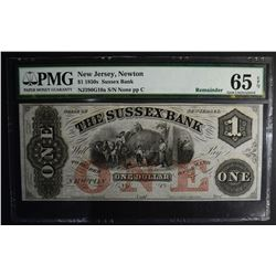 1850s $1.00 SUSSEX BANK NEW JERSEY PMG 65EPQ