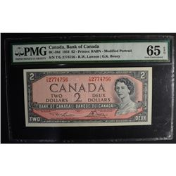 1954 $2 CANADA, BANK OF CANADA PMG 65EPQ