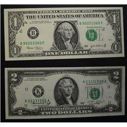 1976 $2 & 2003 D $1 FEDERAL RESERVE NOTES