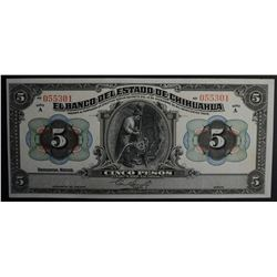 1913 5 PESOS BANK OF CHIHUAHUA MEXICO