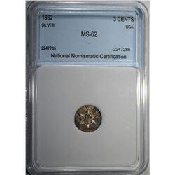 1862 3 CENTS SILVER NNC CH BU