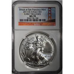2011(S) AMERICAN SILVER EAGLE DOLLAR NGC MS 70